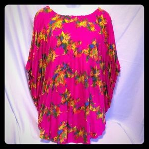 VTG Hot Pink Floral Shawl Pull Over Poncho Pleated